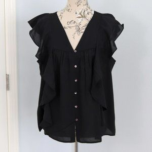 Maurices ruffled button front woven top